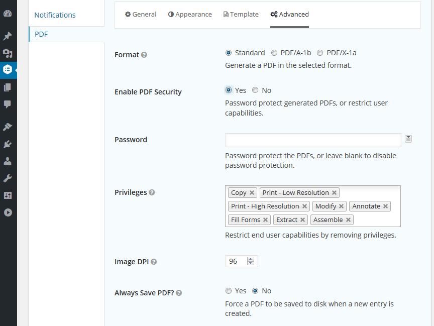 PDF Form Settings Advanced Tab