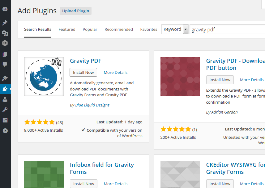 Installing Gravity PDF via the WordPress admin area
