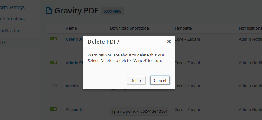 The warning shown when deleting PDFs