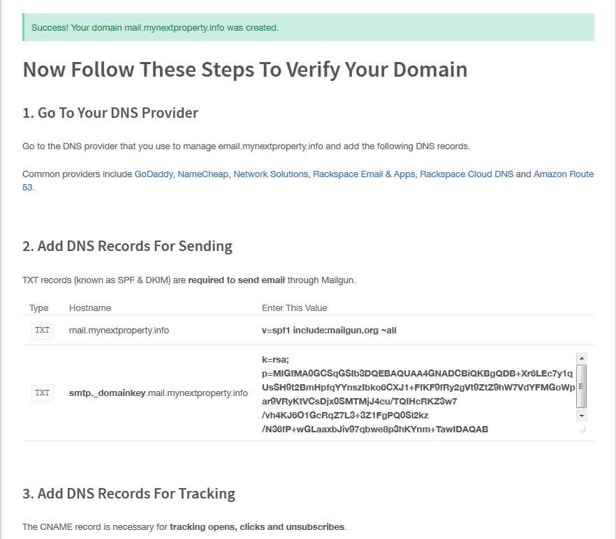 Mailgun DNS Configuration