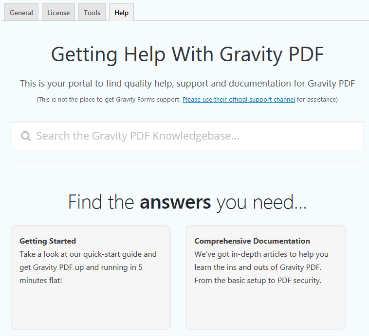 Gravity PDF Help Settings Page