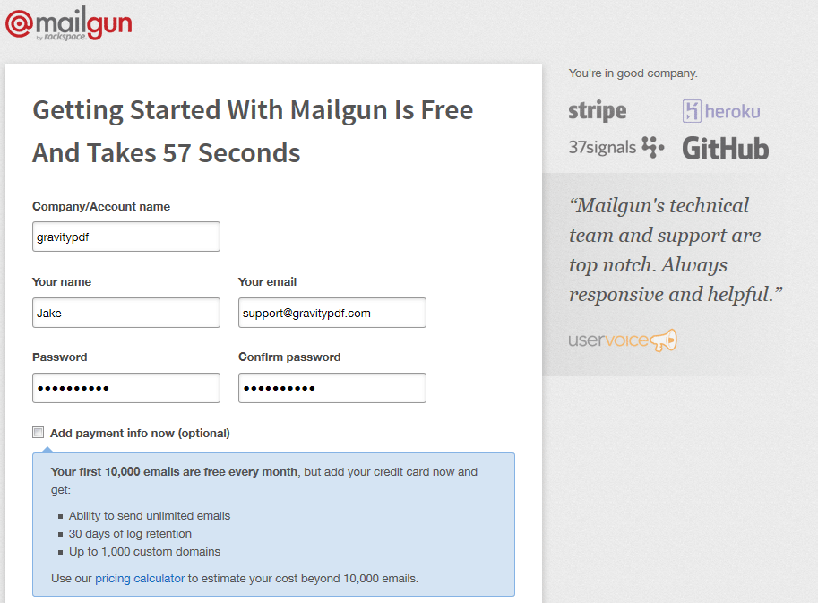 Mailgun Signup Page