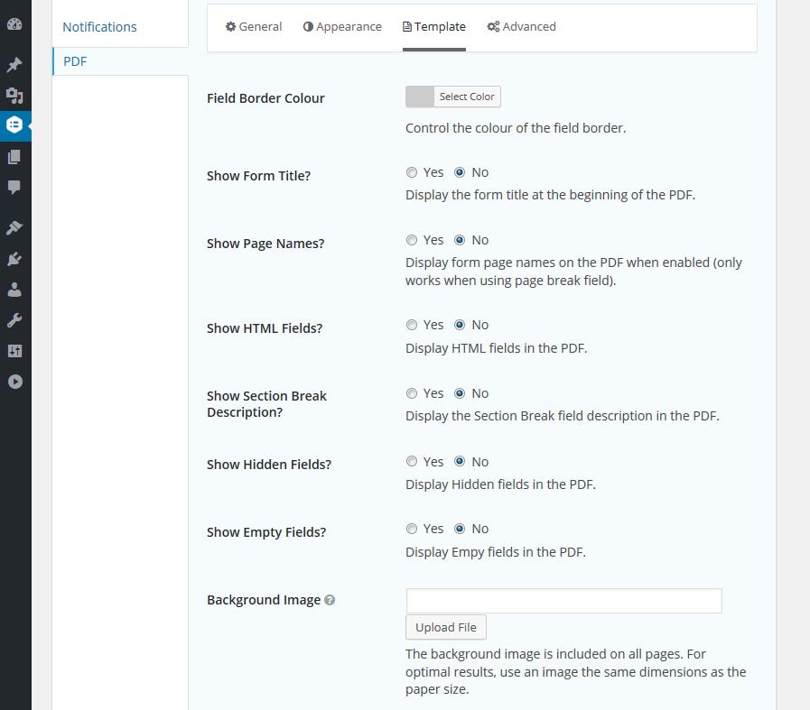 PDF Form Settings Template Tab