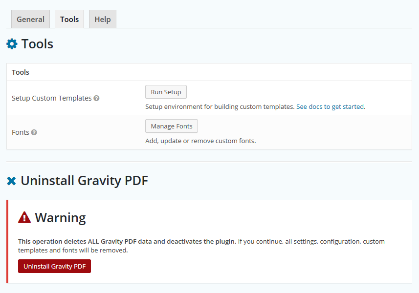 Gravity PDF Tools Settings Page