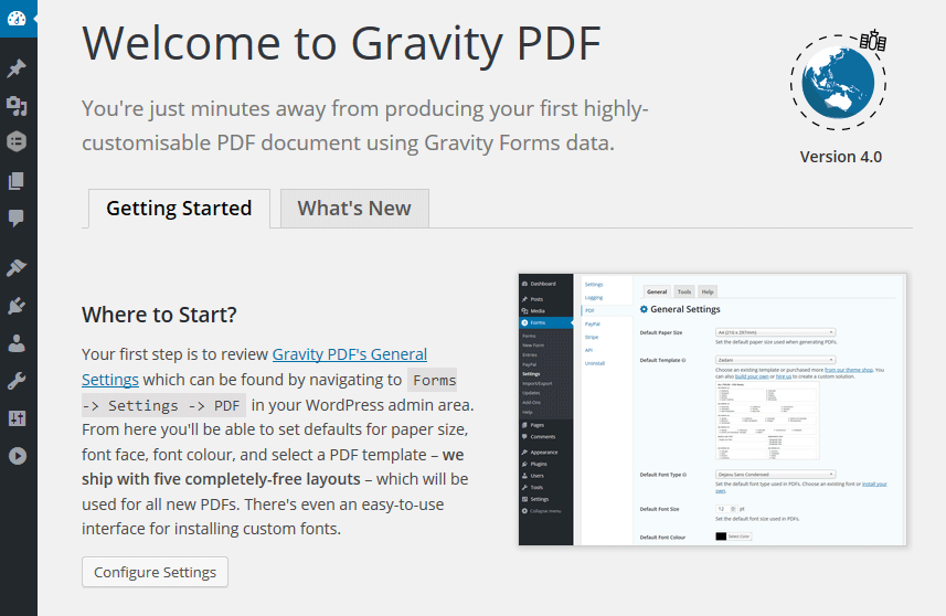 Gravity PDF 4.x Welcome Screen