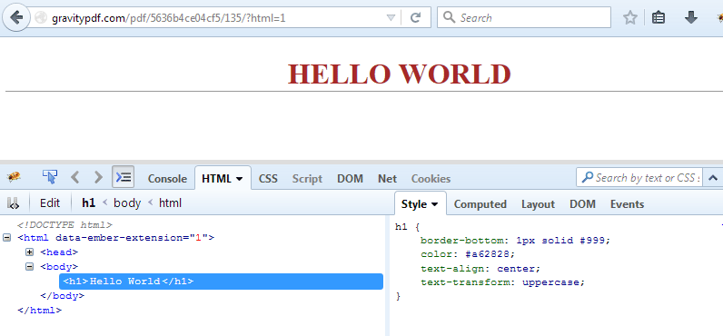 Preview of the 'html' attribute