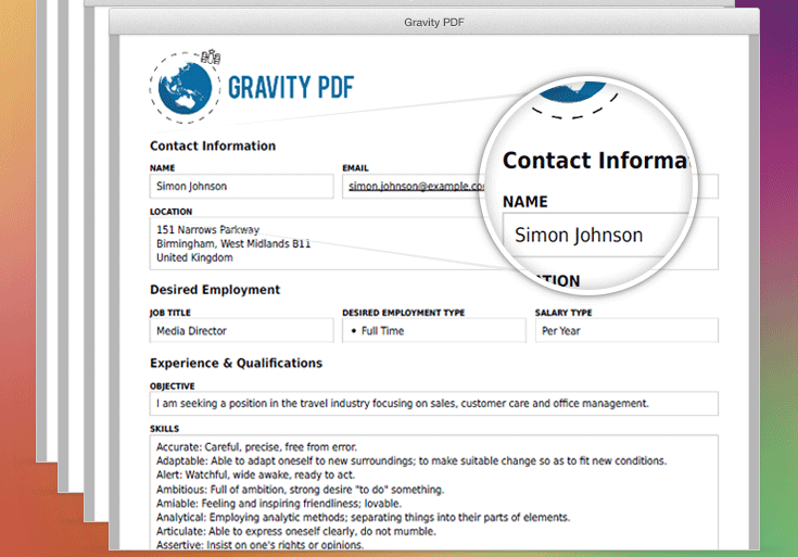 Gravity PDF Template Files