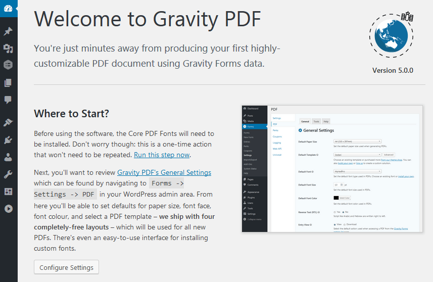 Gravity PDF 5.x Welcome Screen
