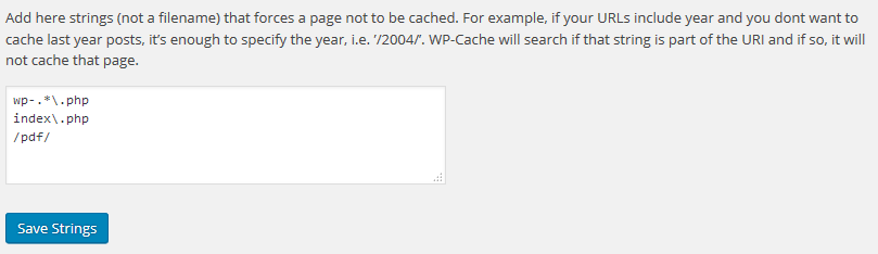 Exclude PDFs from WP Super Cache