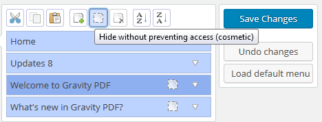 Hiding the PDF menus in the Admin Menu Editor plugin.