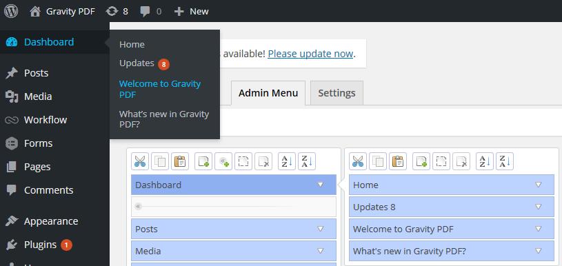 The PDF admin menu items that should be hidden