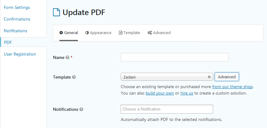 Access the PDF Template Manager through the Advanced button next to the Template Dropdown