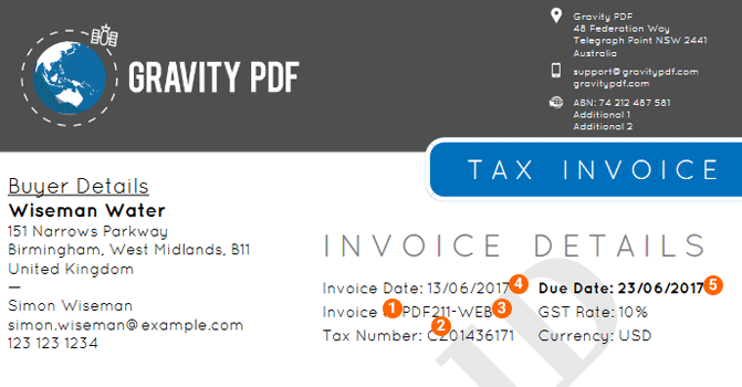 The invoice settings info guide