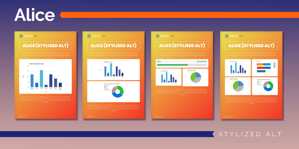 A sample of the Alice Stylized Alt Report template