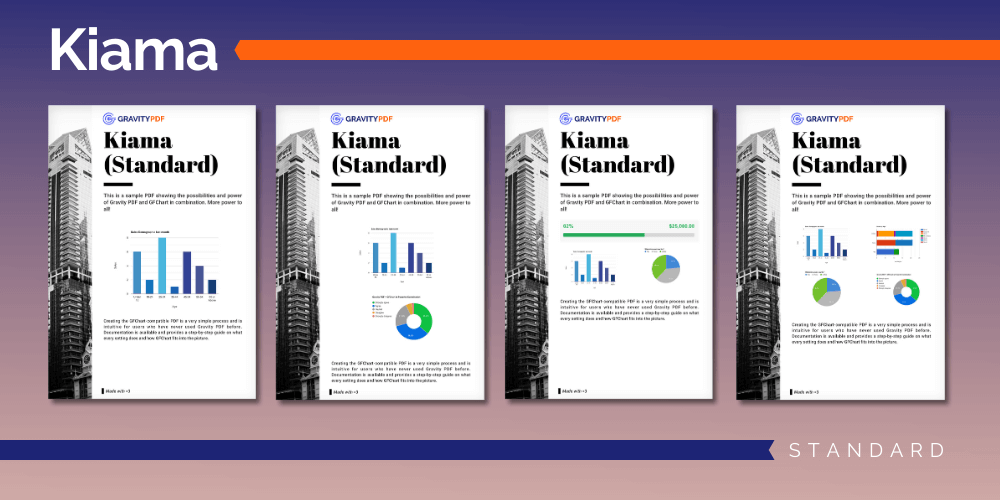 A sample of the Kiama Standard Report template