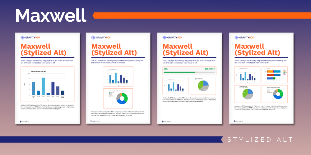 A sample of the Maxwell Stylized Alt Report template