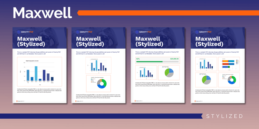 A sample of the Maxwell Stylized Report template