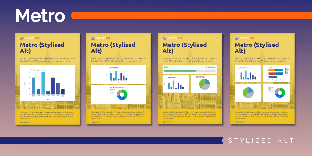 A sample of the Metro Stylized Alt Report template