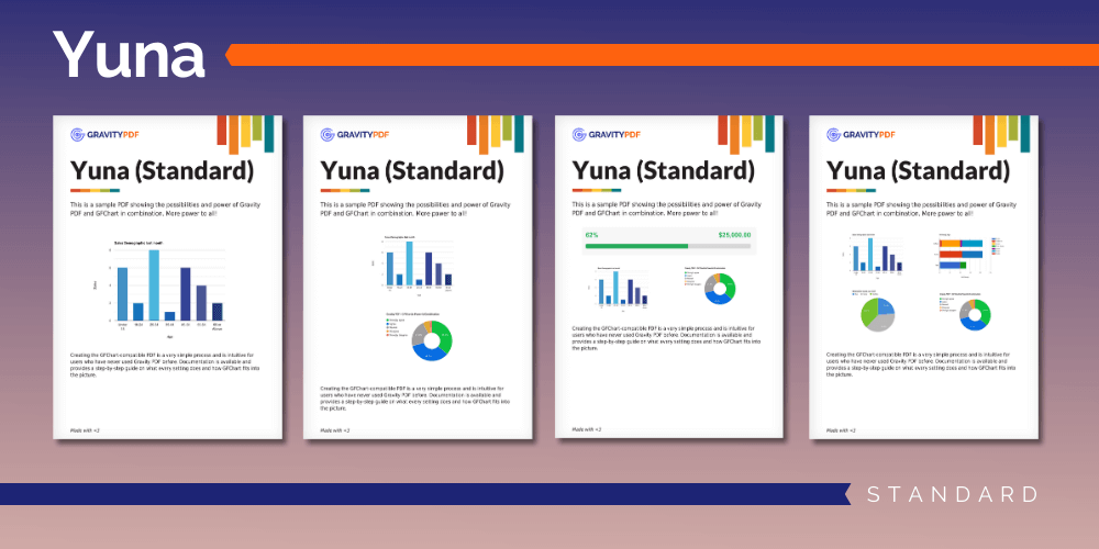 A sample of the Yuna Standard Report template