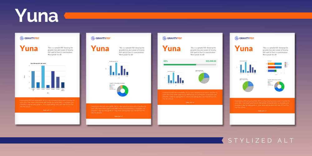 A sample of the Yuna Stylized Alt Report template