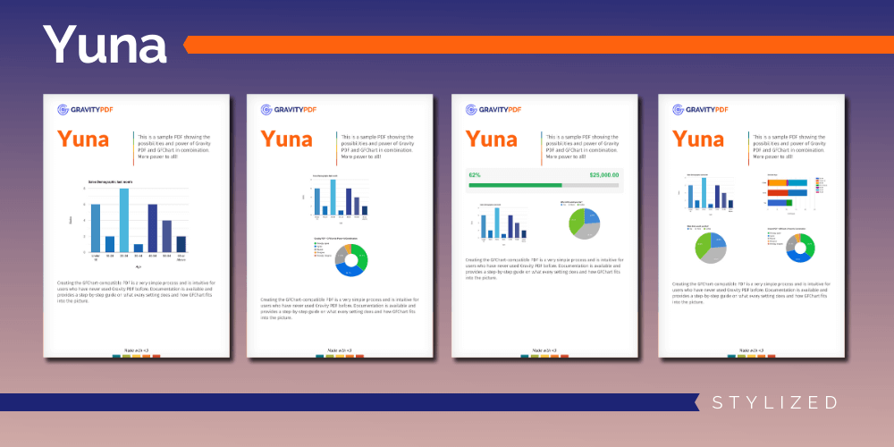 A sample of the Yuna Stylized Report template