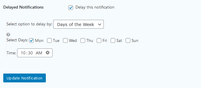 Using a weekly schedule for the report