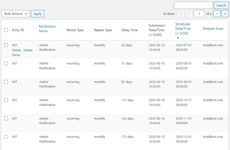 The scheduled notification list