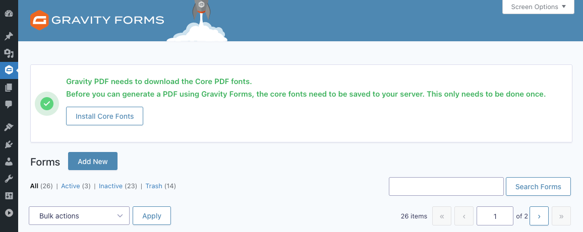 This is the Font Downloader prompt you will see upon activation