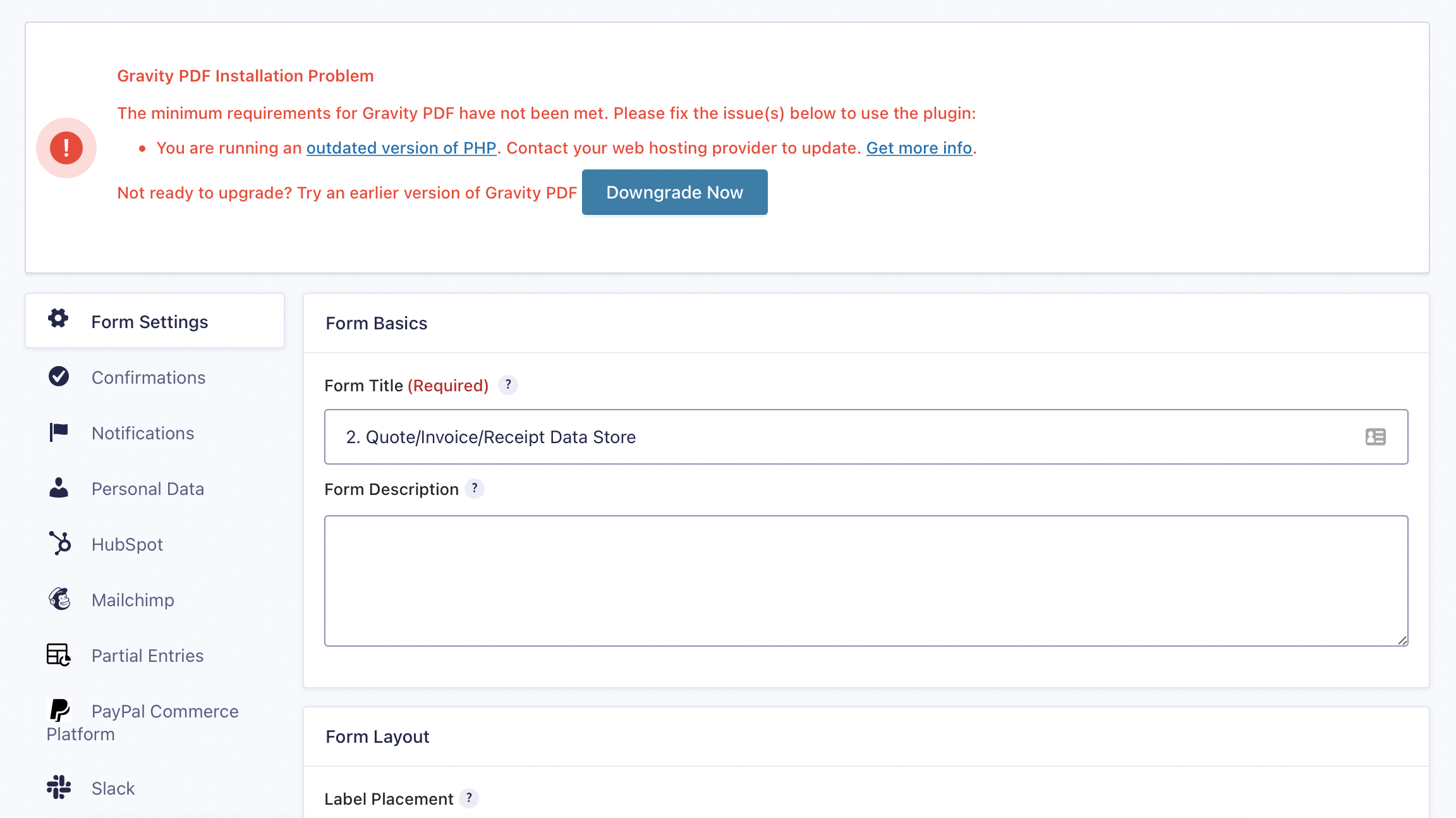 Gravity PDF downgrade environment (screenshot)