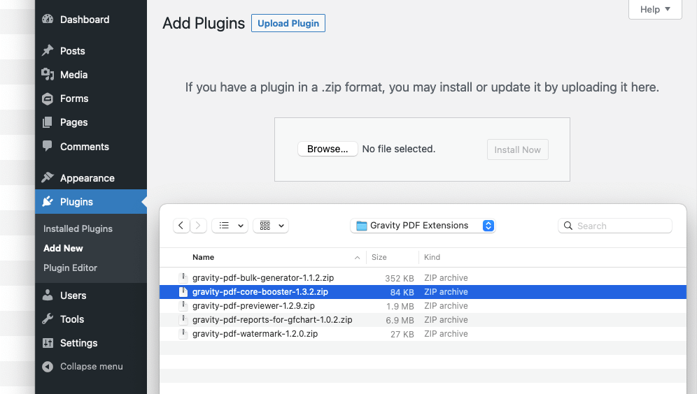 Uploading plugin zip file manually
