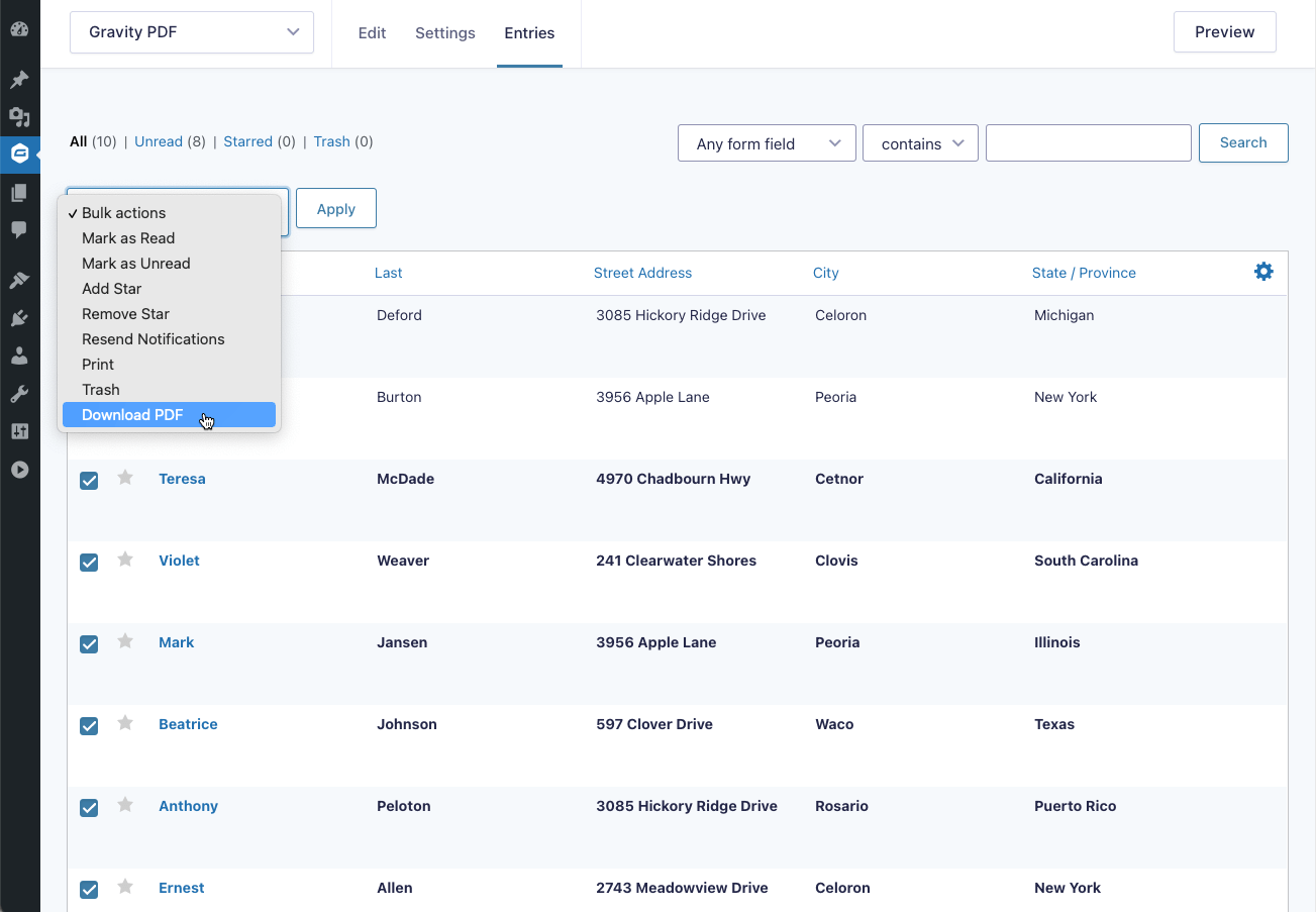 Initialising a Bulk Generator action from the Entry List page