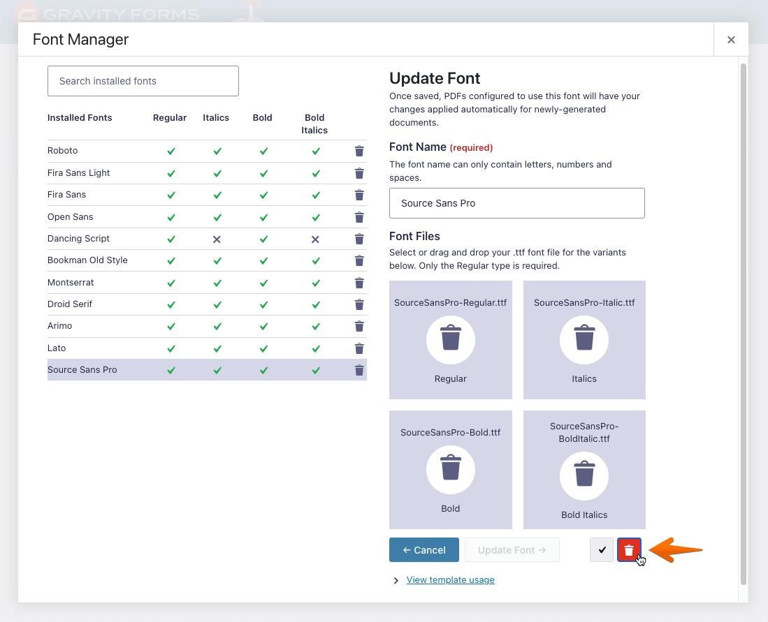 Delete Font Interface