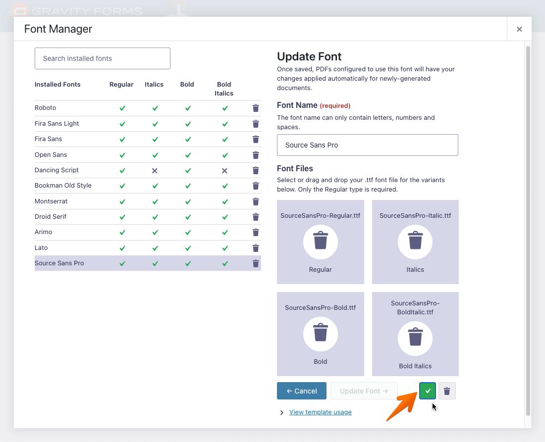 Select Font Interface