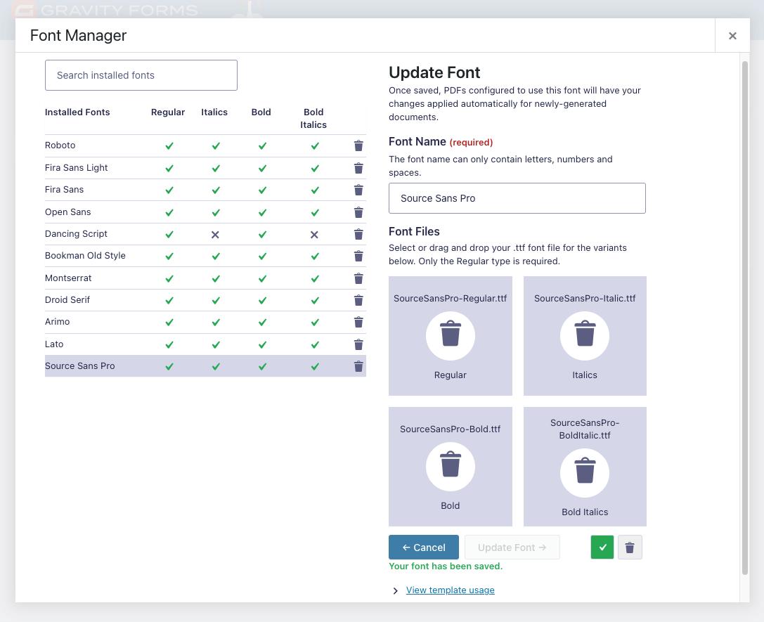 Edit Font Interface