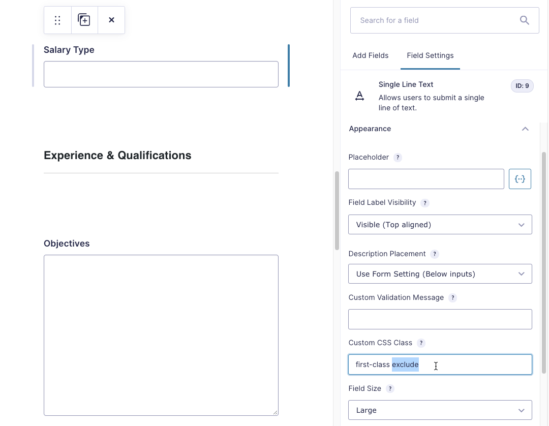 Add 'exclude' field to Gravity Forms Field