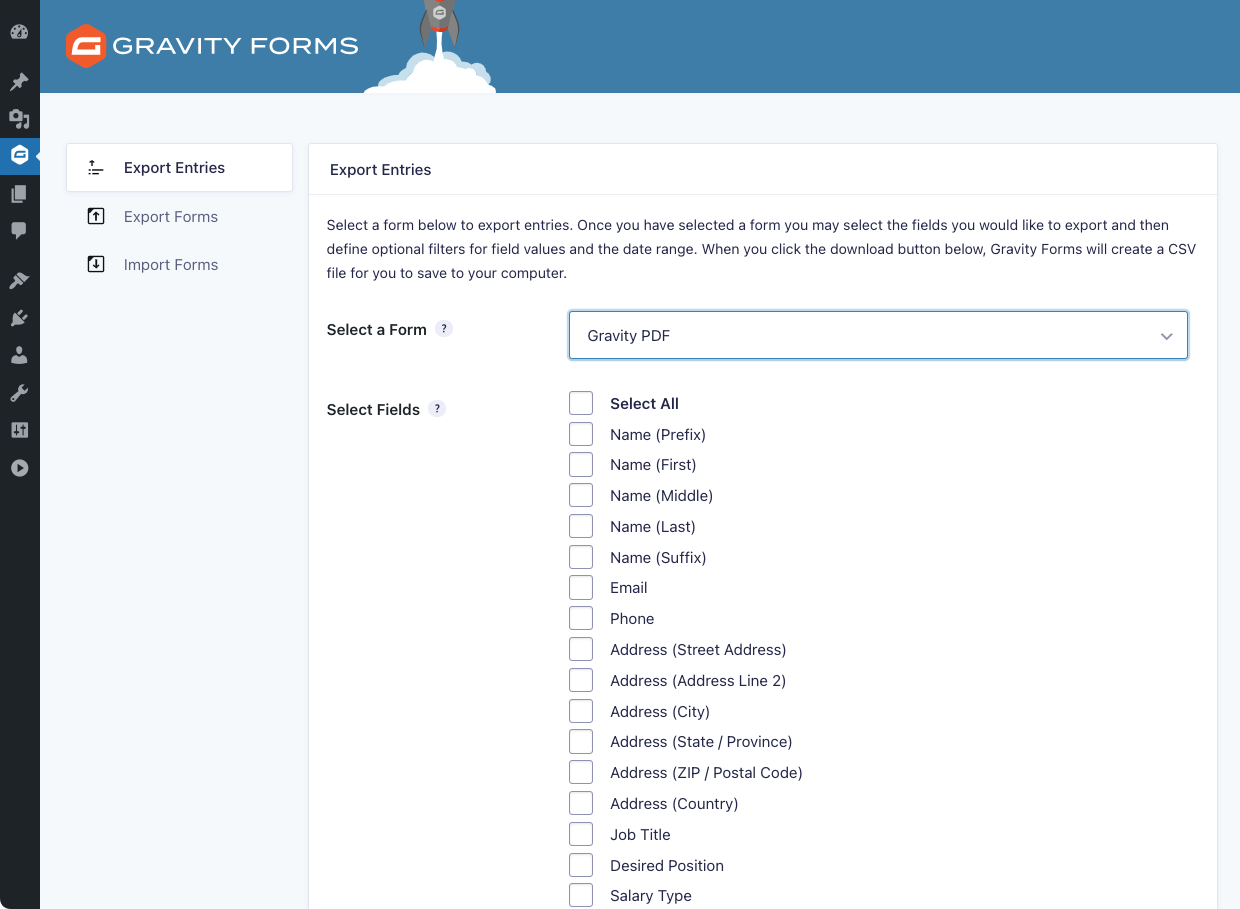 Export Gravity Forms Entries