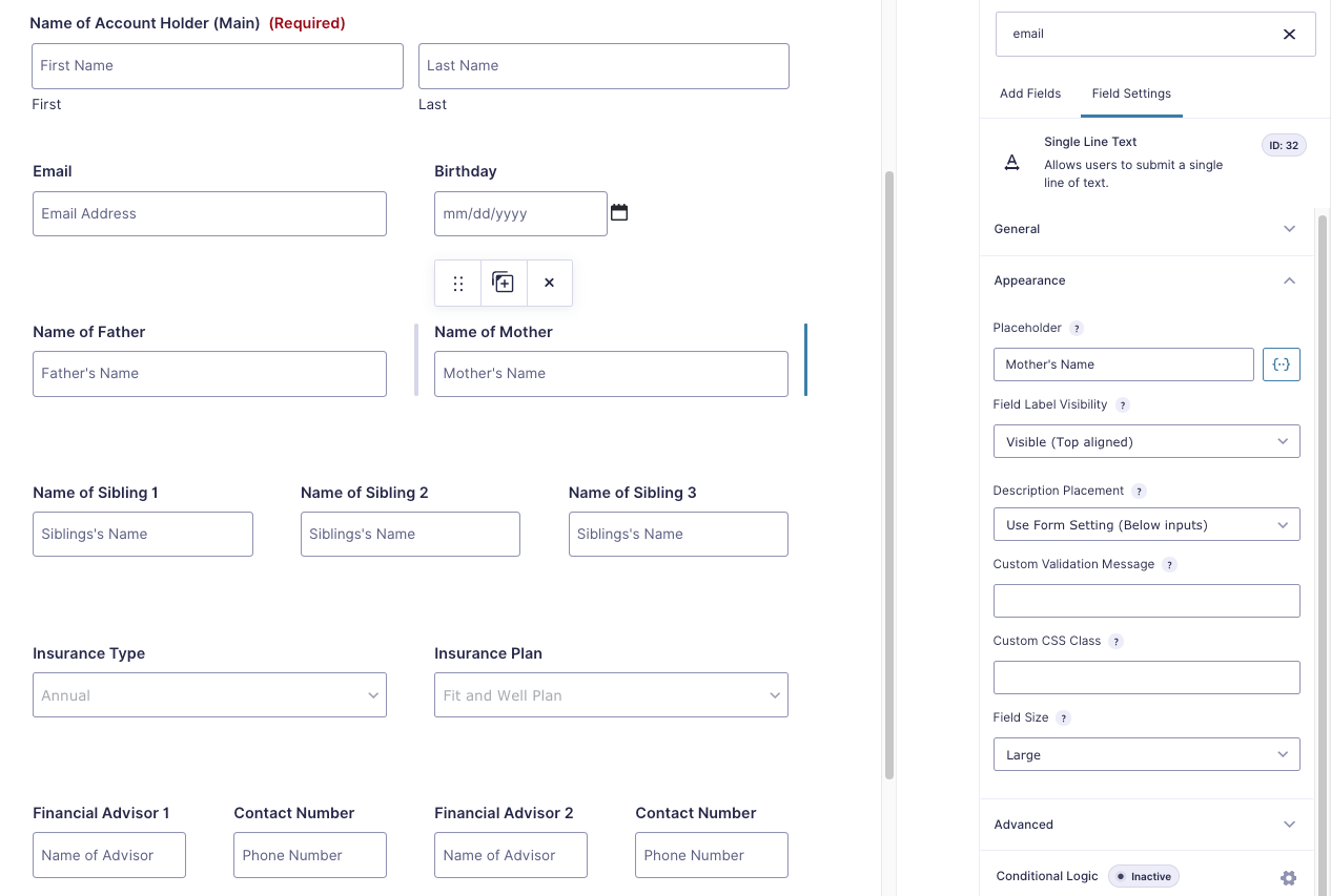 Gravity Forms Form Editor with Column Support