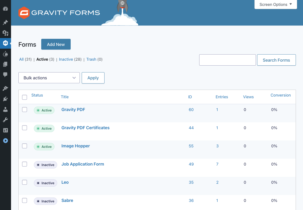 Gravity Forms list page