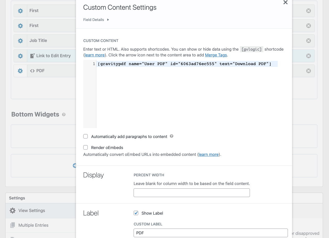 Adding a Gravity PDF shortcode to GravityView's Custom Content field