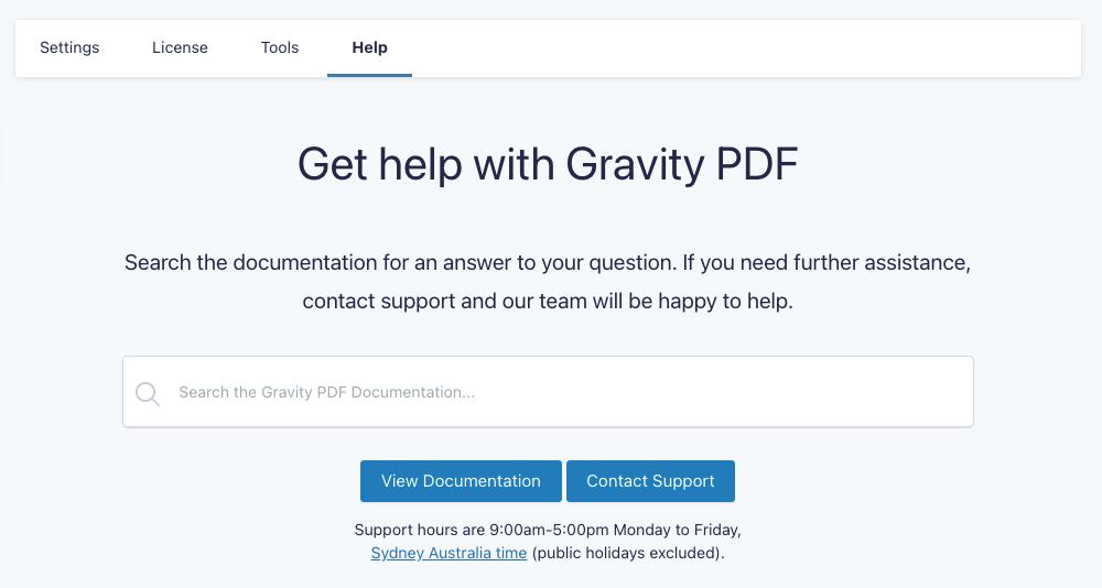 Gravity PDF Help Settings Page