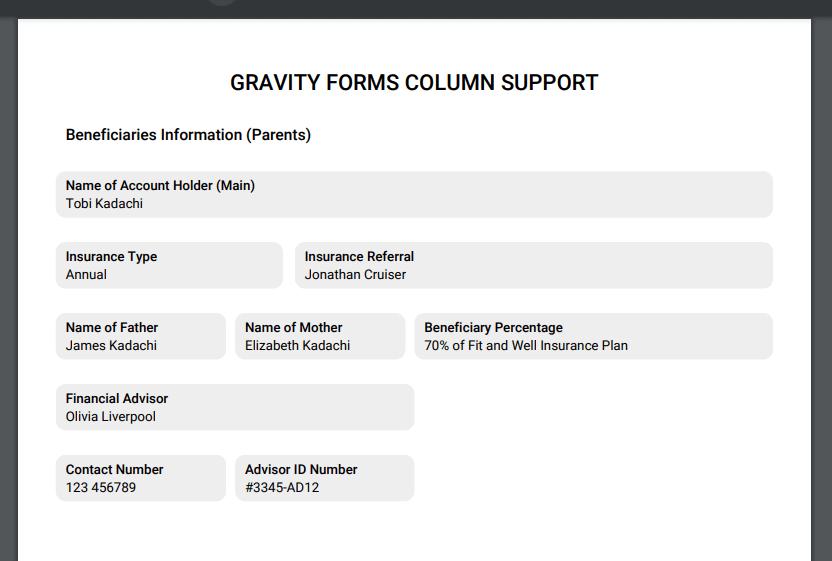 Rubix PDF with 100% column, 20%/80% columns, 25%/25%/50% columns, 50% column, and 25%/25% columns support