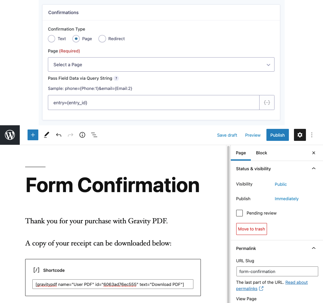 The [gravitypdf] shortcode in the Gravity Forms page confirmation