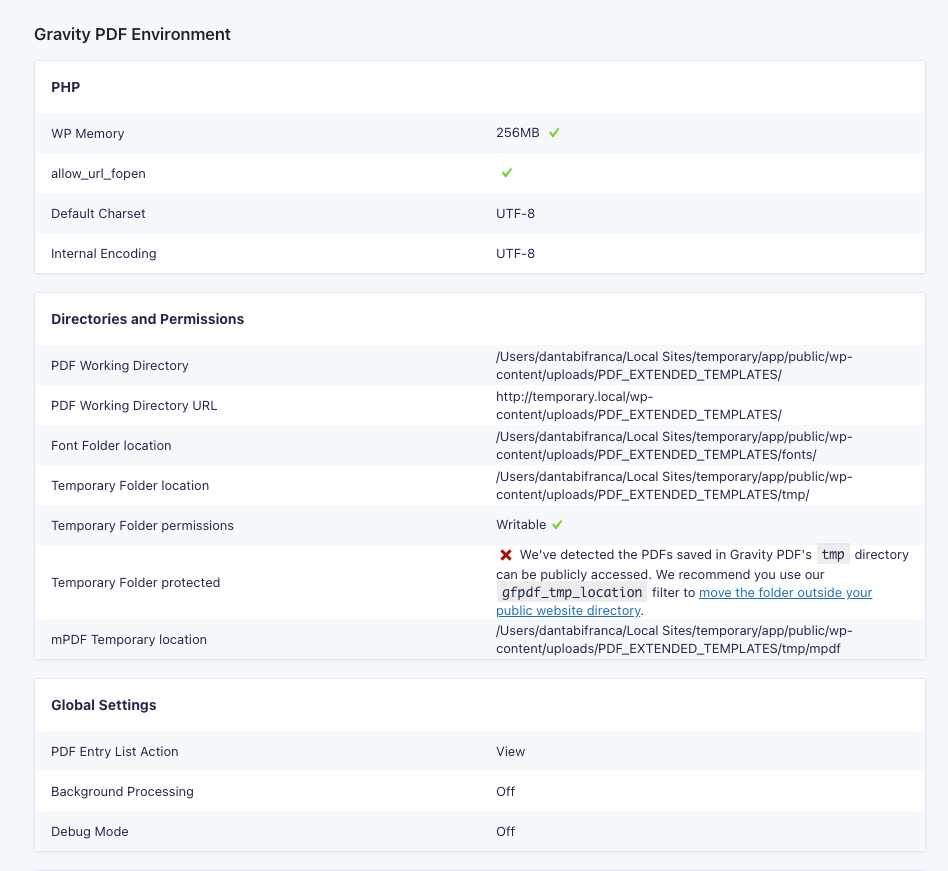 Gravity Forms System Status page
