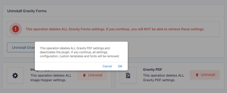 Uninstall Gravity PDF Prompt