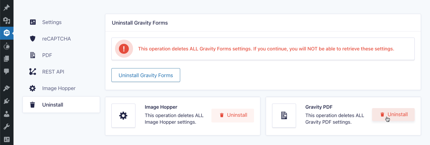 Gravity Forms Uninstall Page