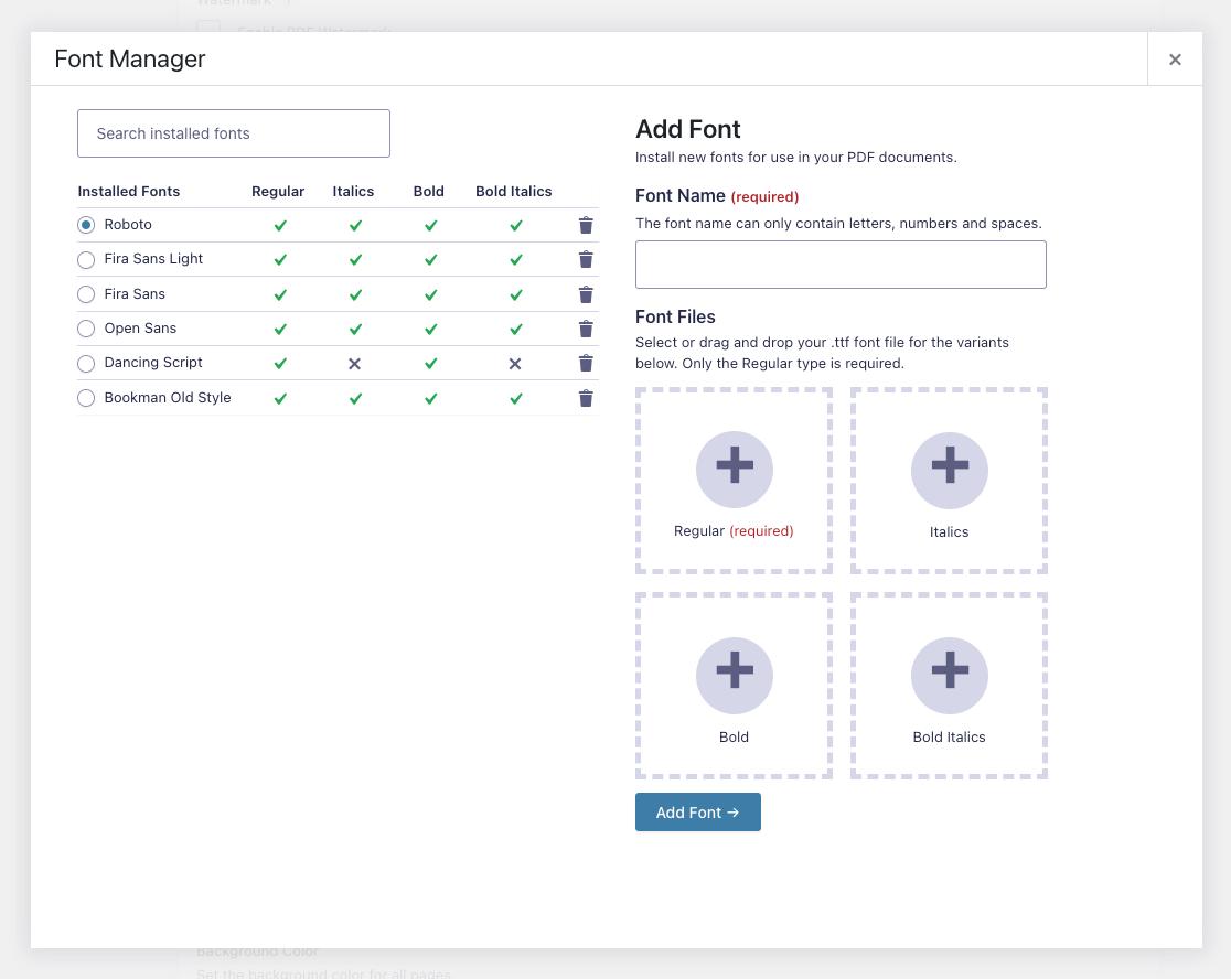 GPDF v6.0 Font Manager (Screenshot)