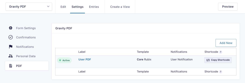 PDF Form Settings List