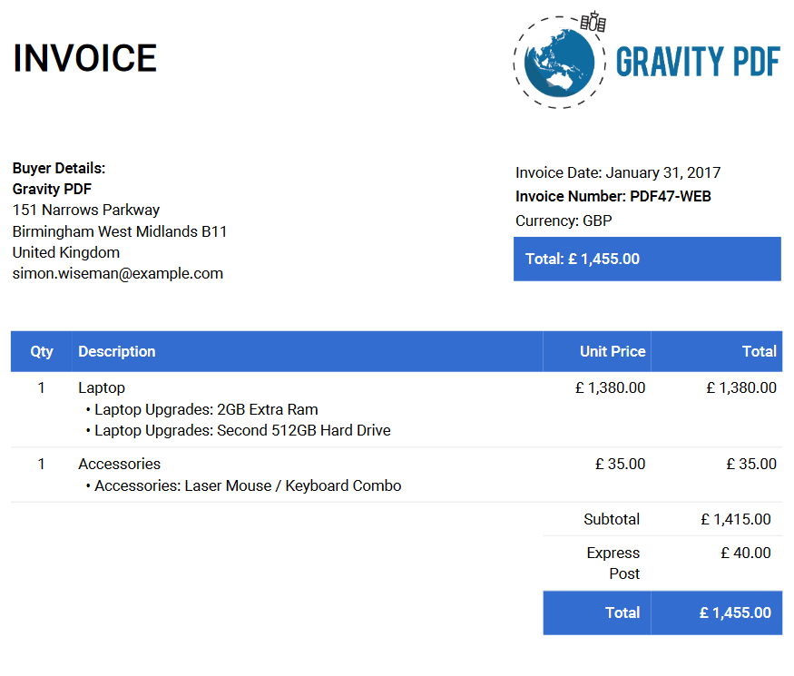 the standard invoice format