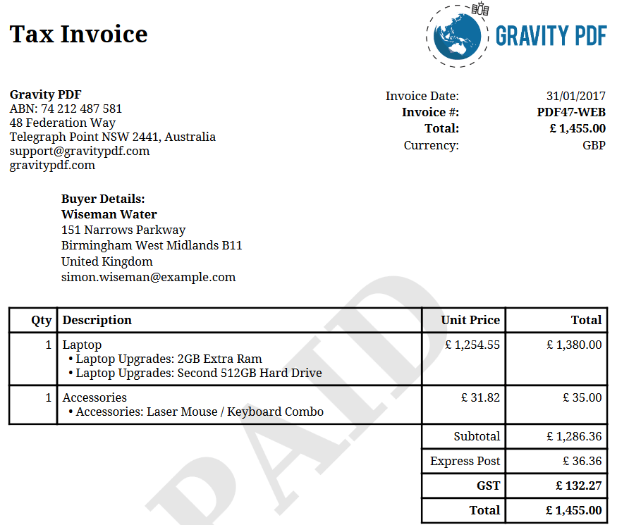 Receipts Software Word Invoice Classic  A Gravity Forms Invoice  Gravity Pdf Consular Invoice with Can I Get A Receipt An Invoice With Basic Tax Enabled And The Tax Summary And Column Disabled Invoice System