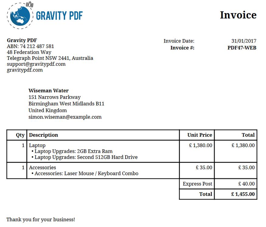 Invoice Classic A Gravity Forms Invoice Gravity PDF - Invoice pdf